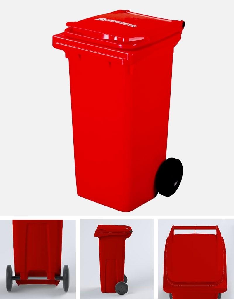 Plastová popelnice ELKOPLAST 120 l, červená